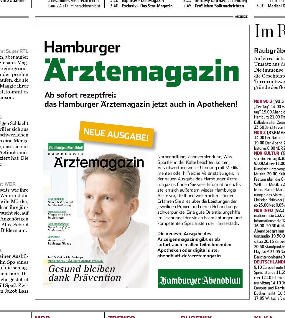 Anzeige vom Hamburger Ärztemagazin im Abendblatt