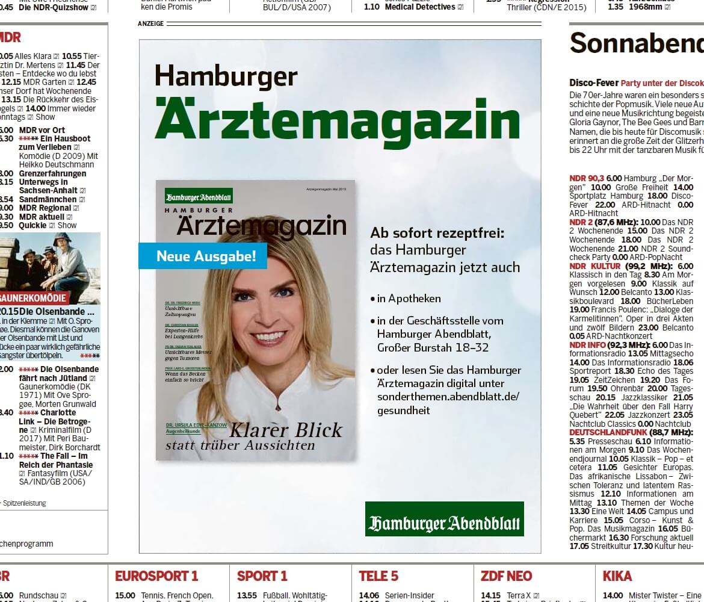 Werbeanzeigen im Abendblatt von Hamburger Ärztemagazin Ausgabe