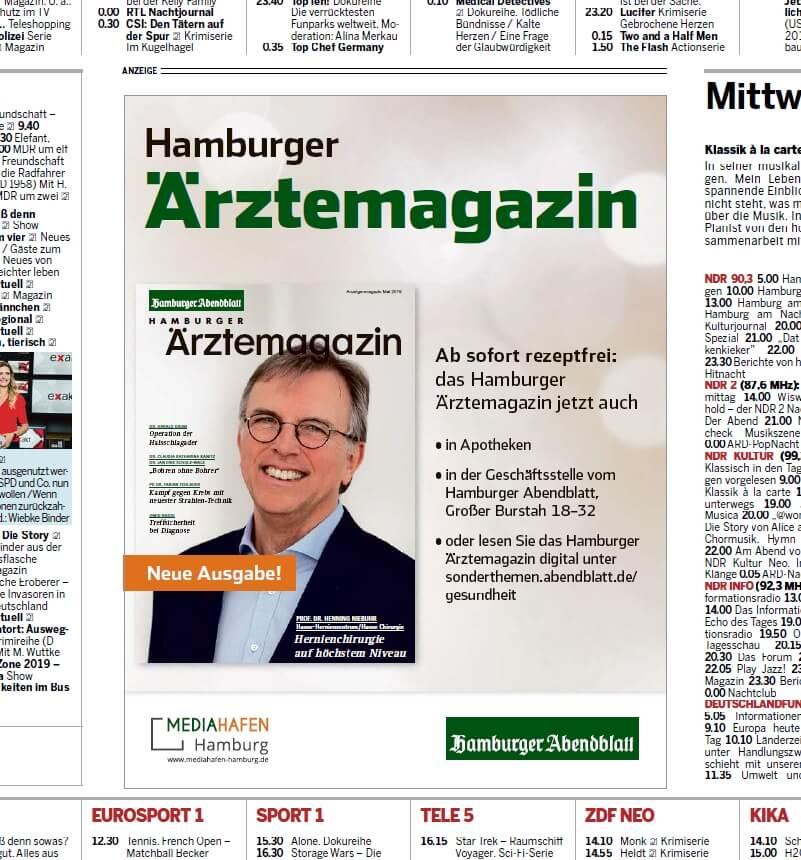 Vermarktung im Abendblatt von Hamburger Ärztemagazin Ausgabe