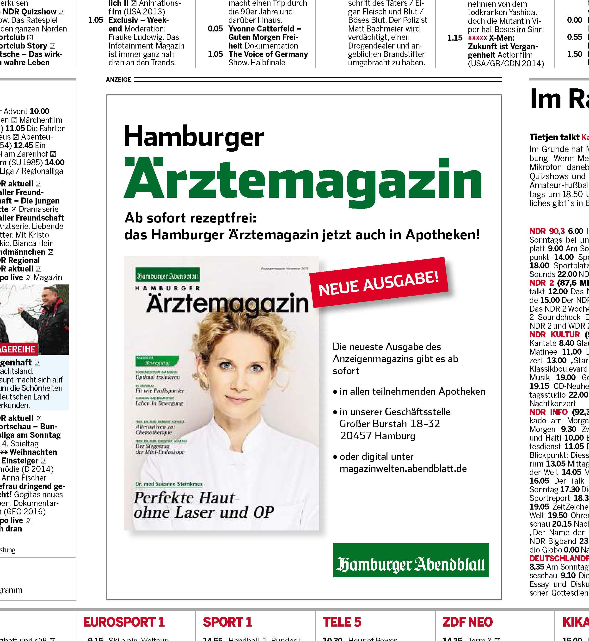 Anzeige zum Hamburger Ärztemagazin im Abendblatt